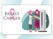 Mammalogist making screening of woman breast poster