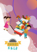 Garage Sale Boy and girl bought toys at spring sale children carry cart with boxes used toy kids sell old used toys second hand plaything vector illustration