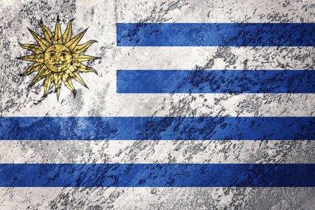 Photo pour Grunge drapeau de l'Uruguay. Drapeau Uruguay avec texture grunge . - image libre de droit