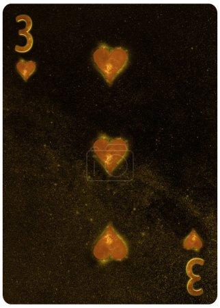 Photo pour Trois des coeurs jouant à la carte Résumé Contexte - image libre de droit
