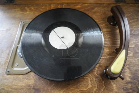 playing turntable on top view. Turntable with vinyl record