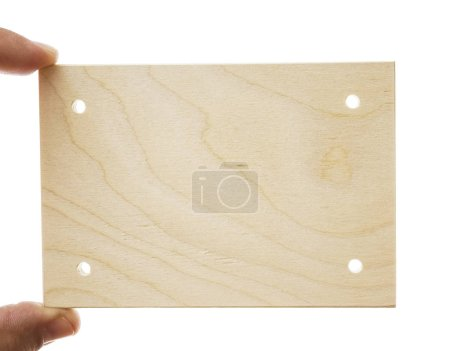 hand holding wooden plank, name plank. empty copy space for inscription