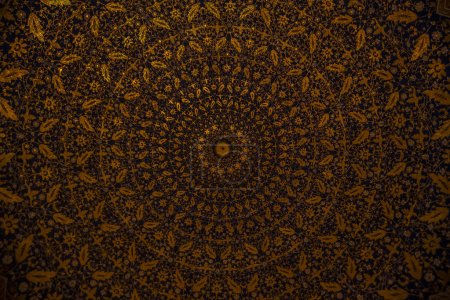 Damask  floral golden round pattern with oriental elements. Abstract traditional ornament