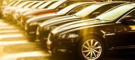 Foto de PRAGUE, CZECH REPUBLIC - 01 JUNE, 2017: luxury modern Cars For Sale. Car Dealer Inventory. - Imagen libre de derechos