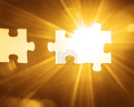 Foto de Wooden puzzles against  sky background. - Imagen libre de derechos