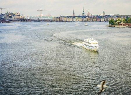 liner on Stockholm city background.
