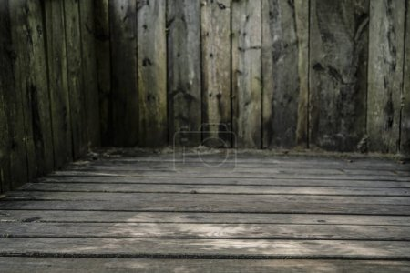 wooden  wall and wooden floor in wide angle perspective