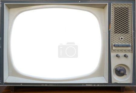 Photo for Old,  aged  television, retro vintage tv style. empty white screen. - Royalty Free Image