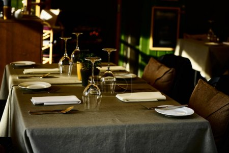 Photo for Set on dinning tables at cafe or restaurant. beautifully served tables in a restaurant. - Royalty Free Image