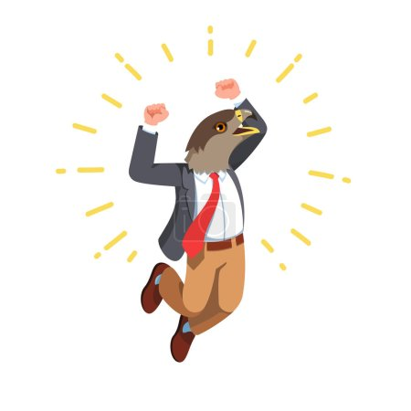 Illustration for Business man with eagle bird head wearing jumping celebrating success with winner gesture. Eagle bird animal head person character wearing clothes. Flat style vector illustration isolated on white - Royalty Free Image