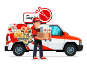 Asian courier man delivering sushi and food