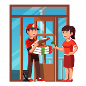 Courier boy handing takeaway pizza in box at home