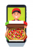 Delivery boy appearing from smartphone app screen
