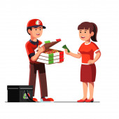 Courier man showing pizza in box to client