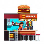 Modern small burger shop on the go kiosk