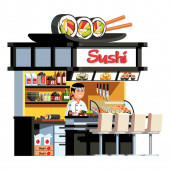 Japanese express sushi restaurant Asian chef cook