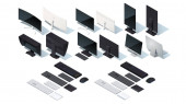 Modern monitor keyboard mouse touch pad set