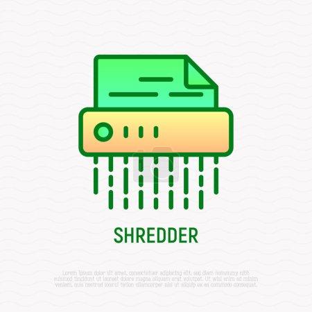 Shredder thin line icon, symbol of information sec...