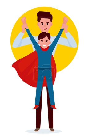 Illustration for Kid boy playing superman with father. Cartoon vector flat illustration. - Royalty Free Image