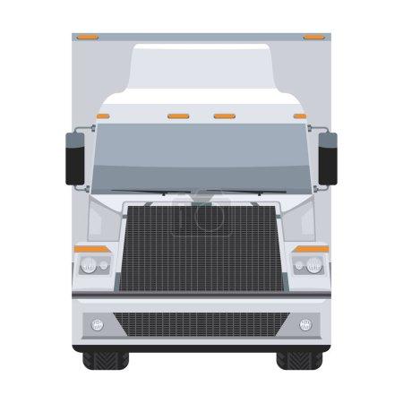 Illustration pour Camion remorque long véhicule avec vue de face de conception de couleur plate et unie. Haut vecteur illustré détaillé . - image libre de droit