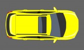 Yellow Car top view Flat and solid color style design Vector illustration