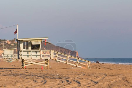 Lifeguard towers in the late afternoon on Zuma Bea...