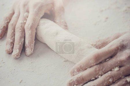 Photo for Process of making cooking homemade dough. Chef makes fresh dough - Royalty Free Image