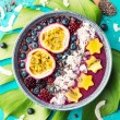 Tasty appetizing smoothie acai bowl made from blac...