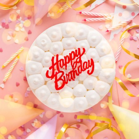 Foto de Happy colorful birthday party background with birthday cake and party accessorizes. Top View with copy space. Pink Background. Square. - Imagen libre de derechos