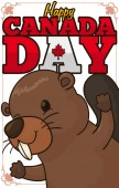Cute beaver celebrating Canada Day with frame decorated with maple leaves and greeting