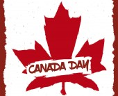 Red maple leaf in brushstroke style in a wall like a graffiti ready to commemorate in urban style the Canada Day