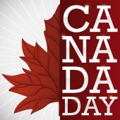 Poster with the half of a red maple leaf and red label with silver greeting to celebrate Canada Day