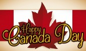Banner with red maple leaf over Canadian ribbon and golden greeting to celebrate Canada Day