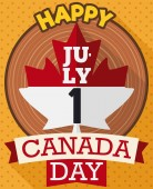 Postcard in flat style and long shadow with maple leaf like loose-leaf calendar over wooden trunk and ribbons with greetings to celebrate Canada Day in July 1