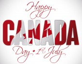 Poster with double exposure with Canadian flag behind greeting text to commemorate Canada Day this 1st July