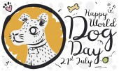 Banner with a cute dog portrait in hand drawn style with some funny doodles around it for World Dog Day celebration in July 21