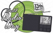 Digital radio with a strap forming a heart shape and a ribbon with reminder date to celebrate World Radio Day in February 13