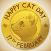 Golden medal with happy smiling cat face ready to celebrate Cat Day in February 17