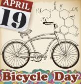Calendar and Bike with LSD Formula for Bicycle Day Celebration, Vector Illustration