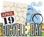 LSD Formula, Calendar and Vintage Bike for Bicycle Day Commemoration, Vector Illustration