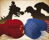Gloves Crashing and Dragon versus Eagle Symbolizing the Trade War, Vector Illustration