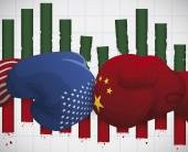 Eroded Statistics Bars due Trade War between China and U.S.A., Vector Illustration