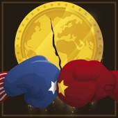 Gloves over Coin like Economy with Fissure due Trade War, Vector Illustration
