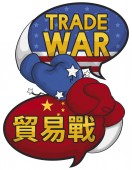 Speech Bubbles with Gloves Fighting during Trade War, Vector Illustration