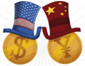 Golden Coins Wearing Hats during Trade War between U.S.A.-China, Vector Illustration