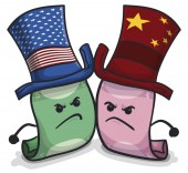 Furious Chinese and American Banknotes with Hats due Trade War, Vector Illustration
