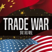 U.S.A. and China Flags with Money Symbols for Trade War, Vector Illustration