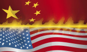 U.S.A. and China Flags on Fire for Trade War, Vector Illustration