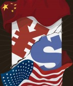 Cracked Pillar with China and U.S.A. Flags during Trade War, Vector Illustration