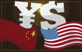 Money Symbols and U.S.A and China Flags for Trade War, Vector Illustration